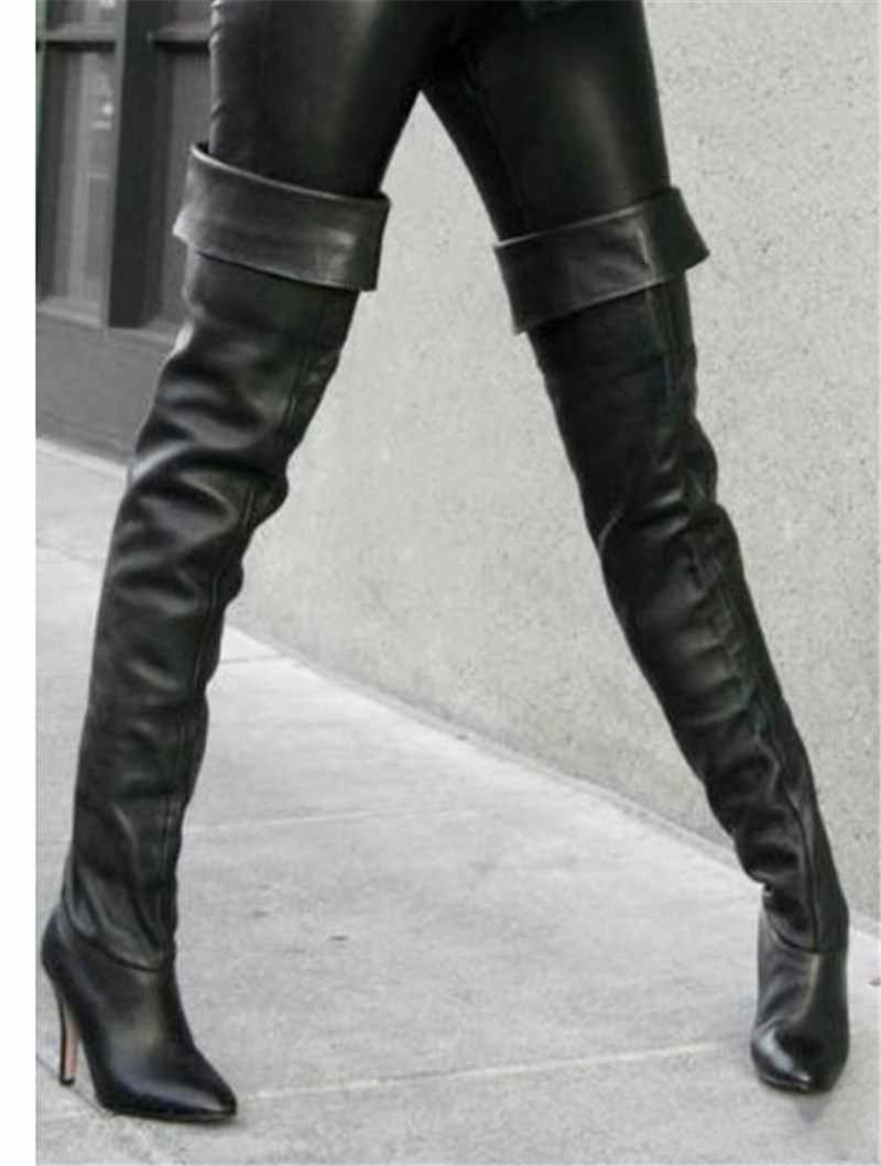 ec42e605281 ... Fashion Black Pu Leather Over The Knee Boots Women High Stilettos Heels  Shoes Women Chaps Street