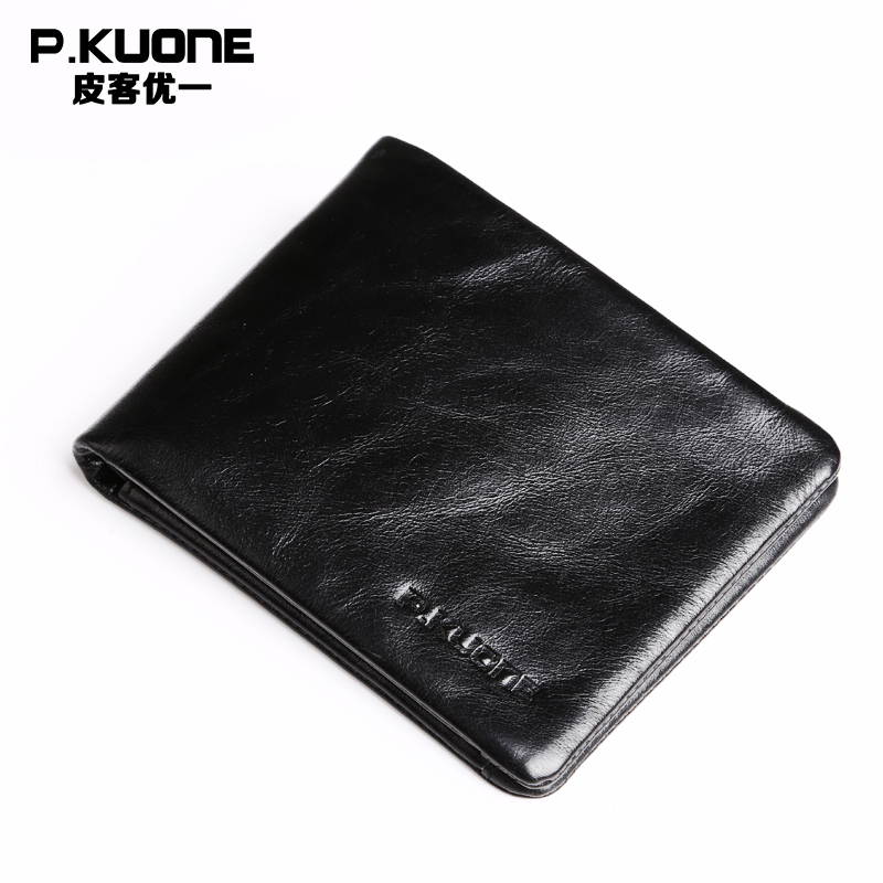 P.KUONE Leather Business Men Wallet 2017 Design Luxury Brand Male Small Purse High Quality Credit Card Holder Passport Cover Bag