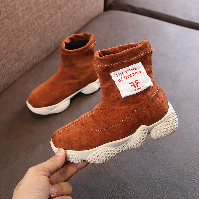 2018 Autumn Winter Baby Girl Boy Boots Children Elastic Fabric Boots Casual Style Kids Socks Shoes Comfortable Soft Bottom Boots
