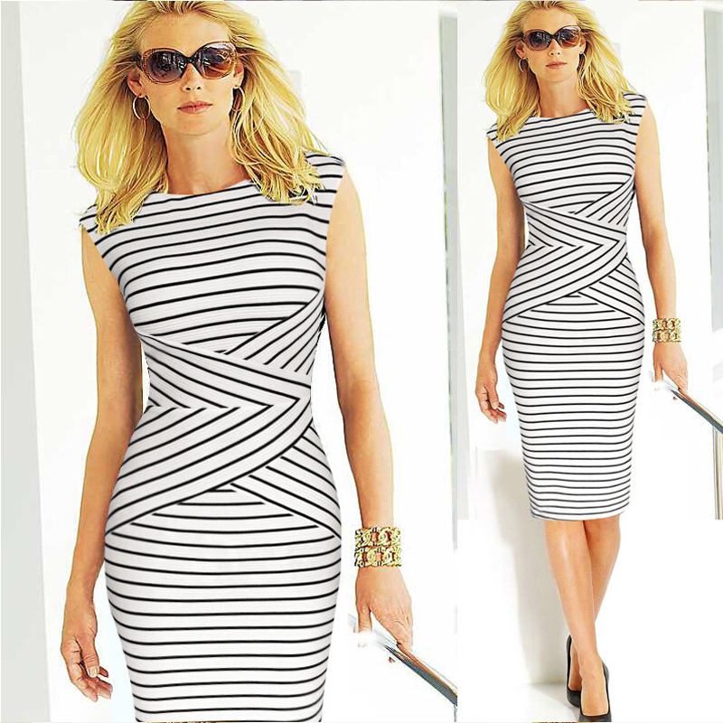 Fashion 2016 Summer Clic Y Sleeveless Striped Black Women Dress Party Wear Office Pencil Bodycon W201 In Dresses From S