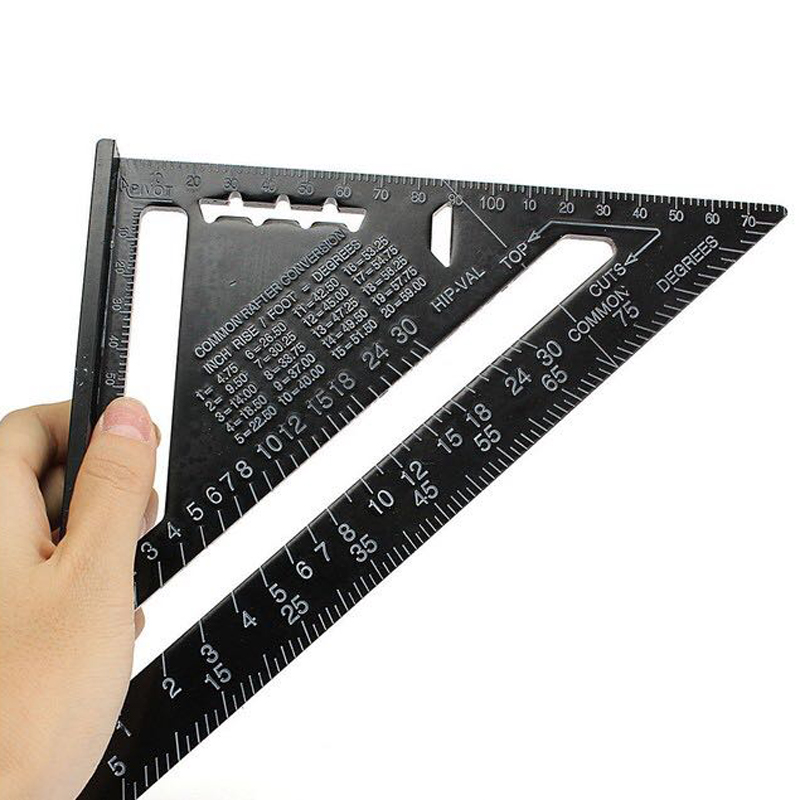 7inch Metric System Measuring Ruler Aluminum Alloy Speed Square Roofing Triangle Ruler for Woodworking Measuring Tools triangular measuring ruler 7 inch metric aluminum alloy speed square roofing triangle angle protractor g205m best quality