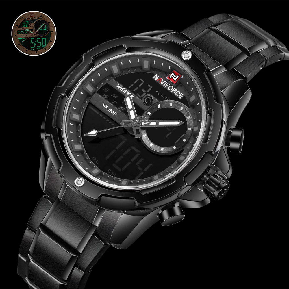 NAVIFORCE Top Luxury Brand 2018 New Digital Sport Mens Watches Military waterproof Stainless Steel Analog LED Quartz Male Clock naviforce men watch digital analog sport mens watches top brand luxury military stainless steel led quartz male clock box 9093