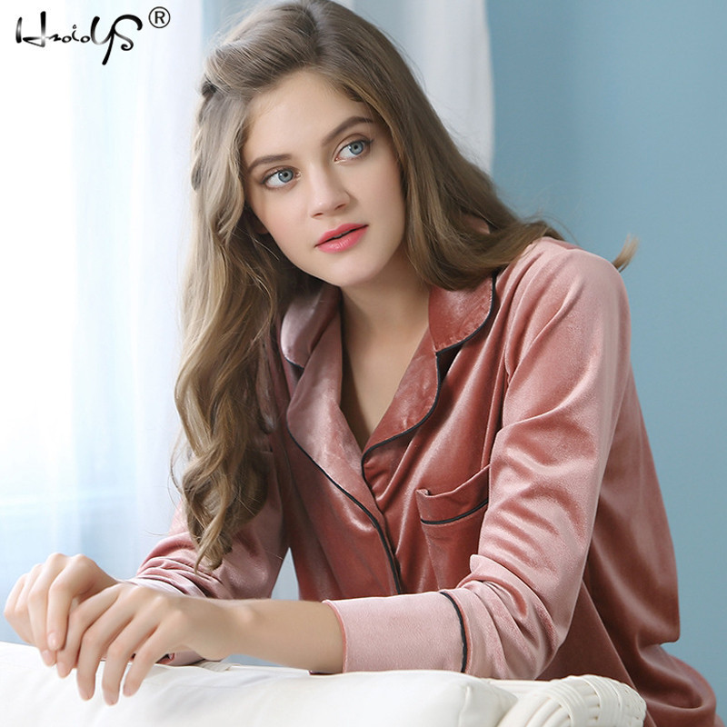 Autumn Winter Velvet   pajamas     sets   2018 Women luxury sleepwear High Quality Plush Velvet Fleece Novelty   Pajama     Set   nighties