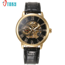 OTOKY Watch Men Luxury Steampunk Skeleton Stainless Steel Automatic Mechanical Men s Watches Leather band relogio