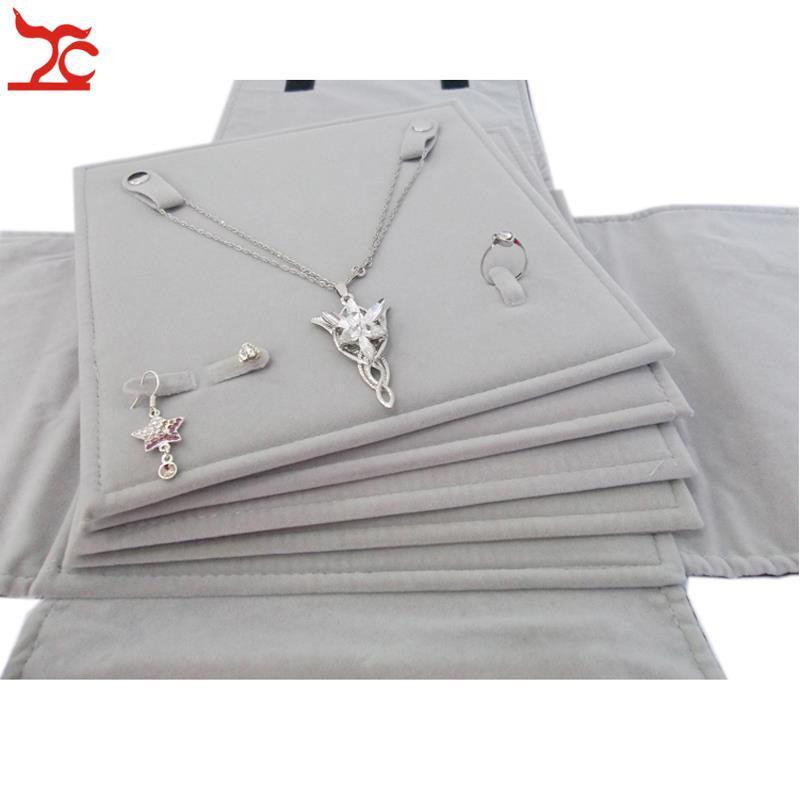 Portable Multi-functional Velvet Jewelry Display Storage Travel Roll Bag Organizer for Pendant Necklace Earrings Ring Set Holder цена