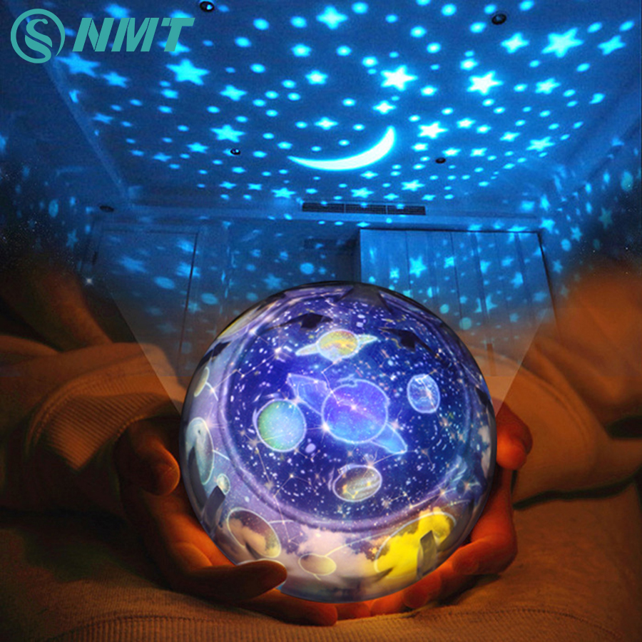 Starry Sky Earth Rotate Projector LED Night Light USB AA Battery Powered LED Night Lamp Novelty Baby Light for Christmas Gift free shipping plastic rechargeable battery illuminated christmas led snowman night table lamp led baby night light for gift