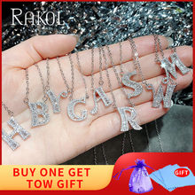 RAKOL Newest 26 Letter Shape Cubic Zirconia Charm Pendants Necklaces for Women/Girl Party Jewelry Statement Necklaces(China)