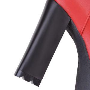 Image 5 - Morazoraプラスサイズ 2020 を復元puソフトレザーアンクルブーツの正方形ハイヒールラウンドトウプラットフォーム黒赤の女性のブーツ