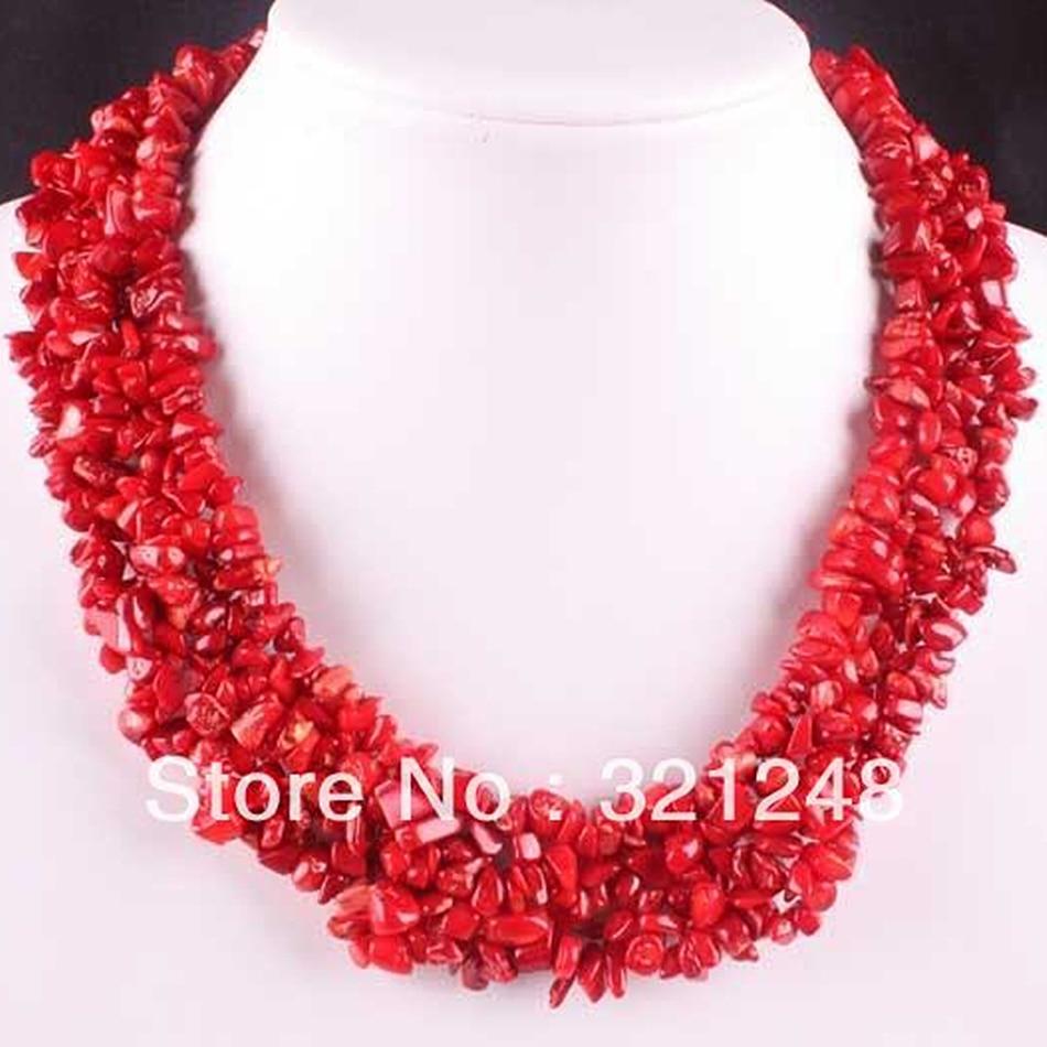 Prix pour Classique naturel rouge corail puces 4X8mm charmes irrégulière semi-précieuse pierre perles collier faire strand 18 pouces GE1170