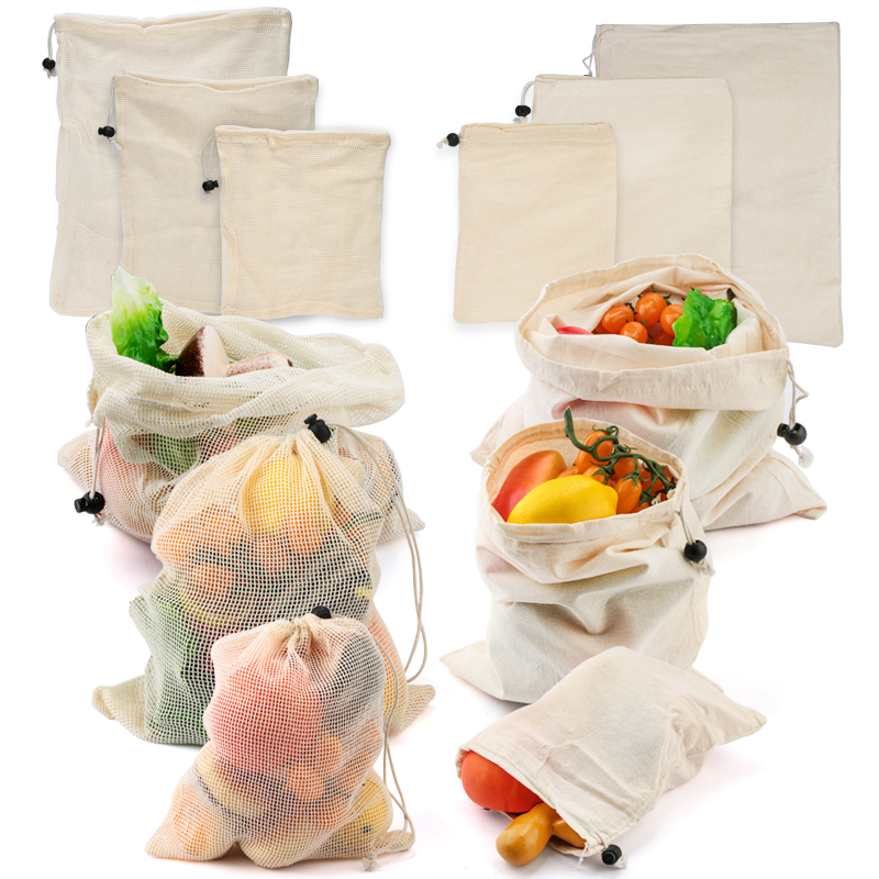 3 Pcs Reusable Fruit Vegetable Bag Grocery Shopper Rope Drawstring Closure Cotton Home Kitchen Storage Stuff Washable Mesh Bags