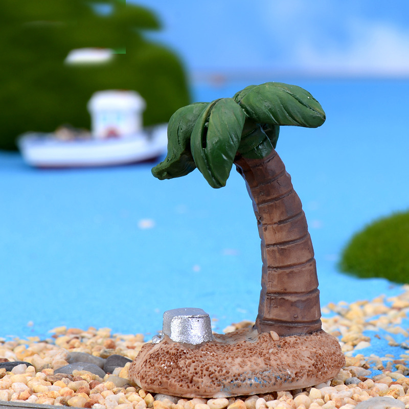 1PC Coconut Tree Figurine Miniature Figures Movie Character Birthday Cake Home Car Decoration Statue Resin Craft Toy Gift