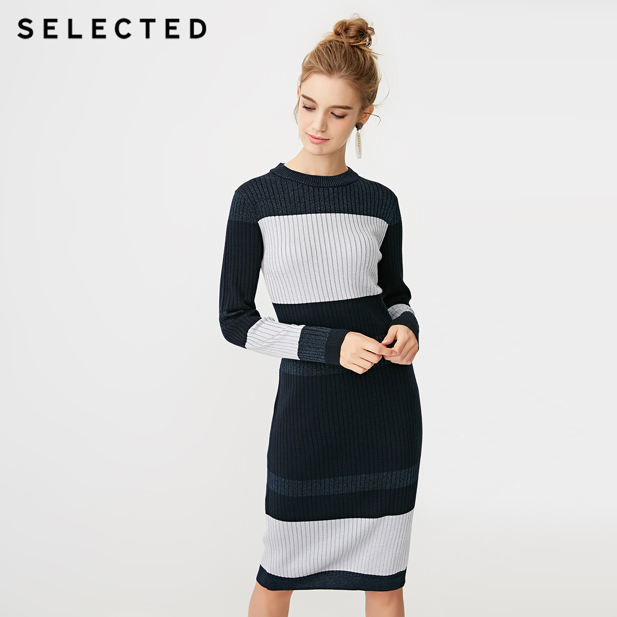 SELECTED blackrock s new female striped straight long knitting long sleeved dress S 418446504