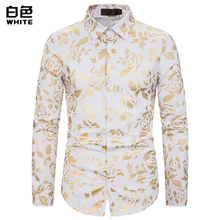 (European Size) 2019 MenS Autumn Fashion New Nightclub Lapel Rose Gilded Printed Long-Sleeved Shirt
