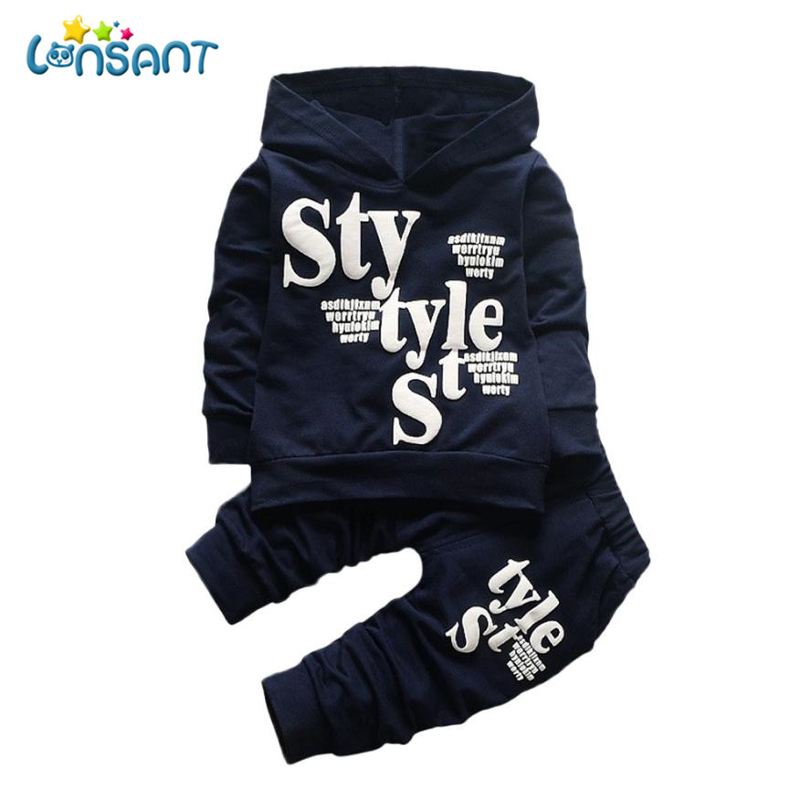 LONSANT Clothing Sets Kids Boys Clothes Fashion Casual Printing Hood Tops Pattern Pants Conjunto Menino Winter Dropshipping D18