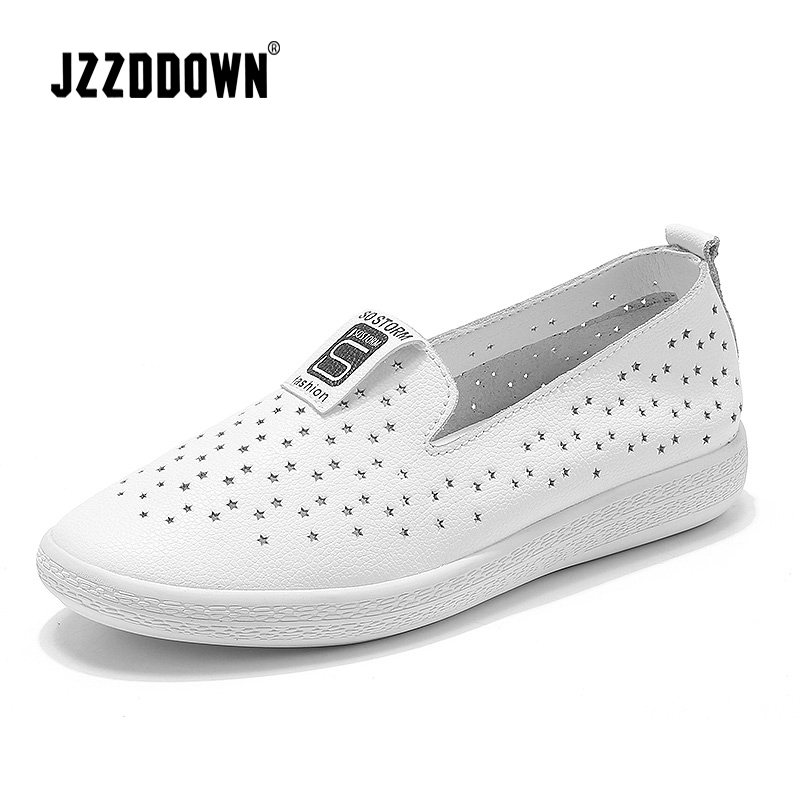 Women casual flats sneakers shoes Genuine Leather ladies loafers shoe Star Hollow White Black canvas Boat shoes female moccasin handmade women loafers round toe genuine leather flats female soft moccasin gommino breathable boat shoes chaussure xk052506