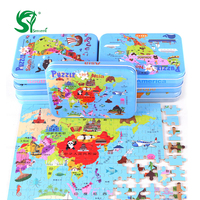 Toys For Children Montessori 120 Pieces Intercontinental Map Iron Box Puzzle Board Baby Kid Educational Kids
