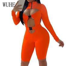WUHE Sexy Hollow Out Long Sleeve Hight Neck Rompers Womens Jumpsuit Autumn Orange Irregular Open Chest Bodycon Party Overalls
