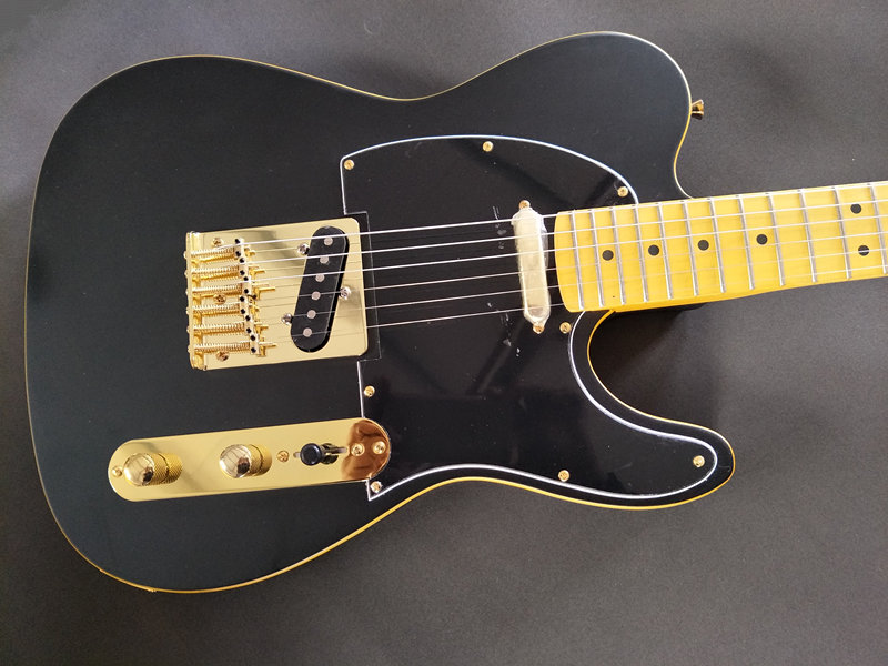 New Arrived Custom Shop TL Electric Guitar Matt Black Yellow Binding Finish SUPER RARE, Excellent Quality, Wholesale