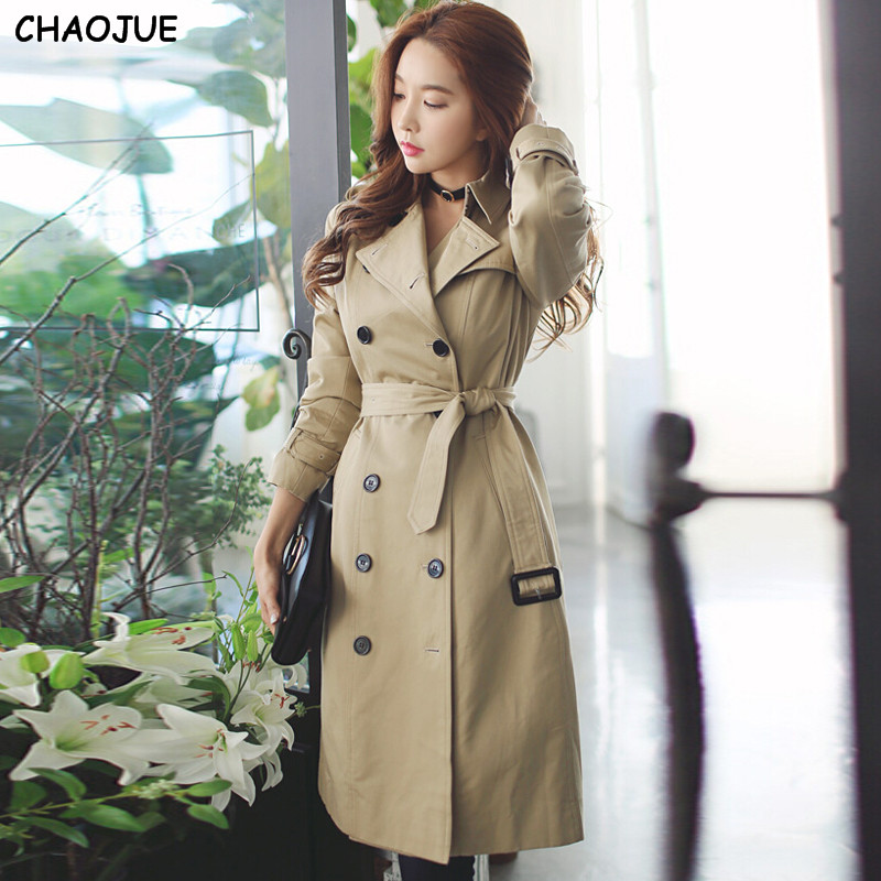 CHAOJUE trench female 2018 spring/fall double breasted medium long outerwear ladies beige long sleeve plus size pea coat trench