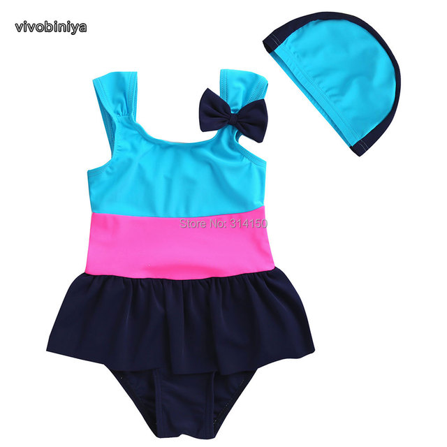 Vivobiniya Free Shipping Children Swimwear Baby Bow Tie Swimsuit Kids Bathing Suit Beach Clothes