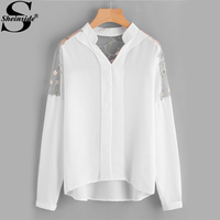 Sheinside Embroidery Mesh Paneled High Low V Neck Blouse Women Band Collar Long Sleeve Plain Blouse