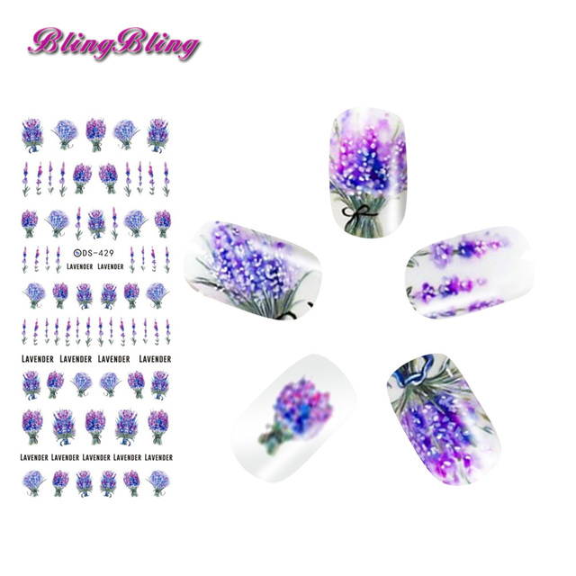 2sheets Lavender Flower Nail Sticker Purple Blooming Water Decals ...