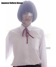 581718c2b Japanese School Uniform Style Girls French Toast Blouse Sharp Collar  Uniform Shirt Tops with Chest Pocket Long Sleeves