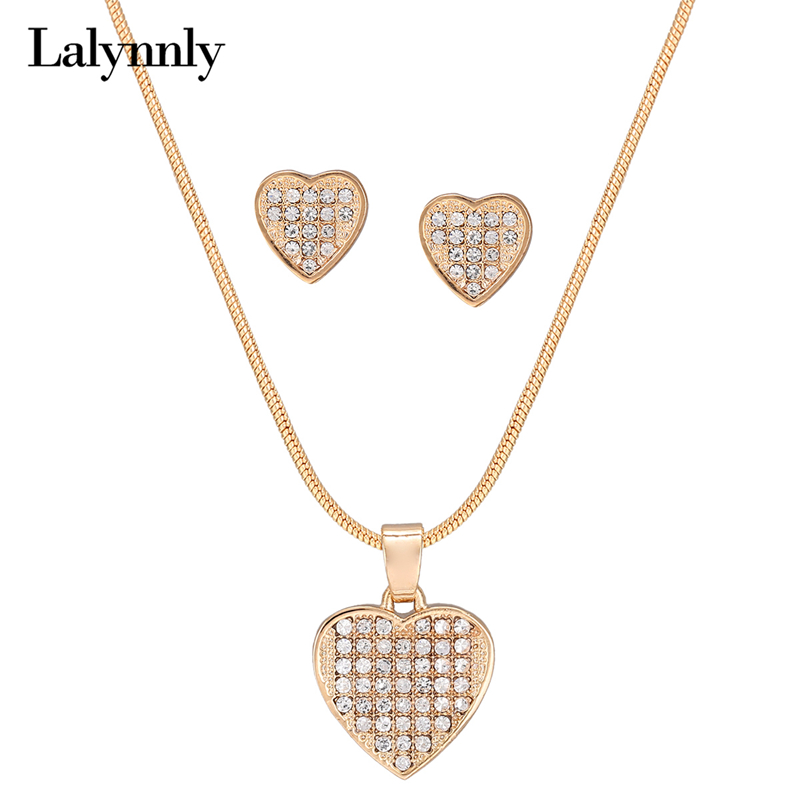 Lalynnly Punk Style Gold Cute Love Necklace And Earrings Set Heart Shape Charm Jewelry Set For Women Bridal Fashion New N61951
