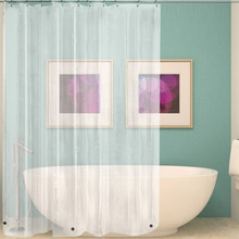 Waterproof Transparent Shower Curtain White Clear Bathroom Curtain Luxury Bath Curtain With Hooks Plastic Polyester(China)