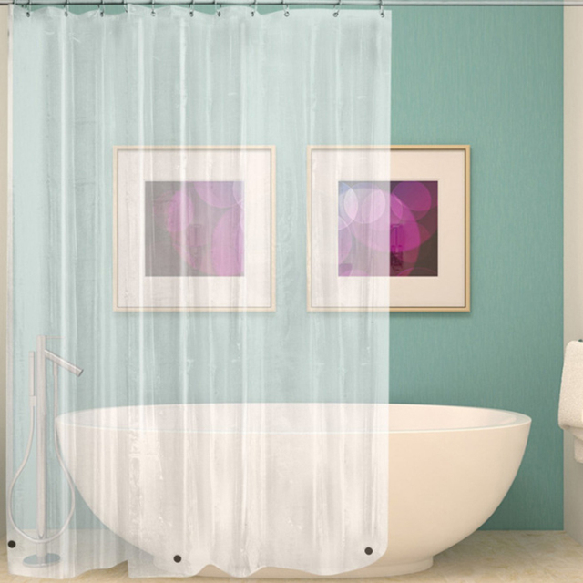 Waterproof Transparent Shower Curtain White Clear Bathroom Luxury Bath With Hooks Plastic Polyester