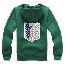 6 Colors Anime Attack on Titan Cosplay Costume Scouting Legion Hoodie Allen Hooded Coat Jacket for Unisex