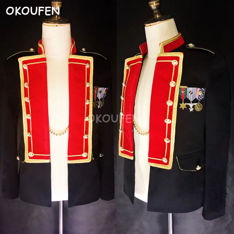 Cool Man Royal Embroidery Slim Navy Suit Jacket costumes Stage dance wear Club male singer DJ DS host dress costume
