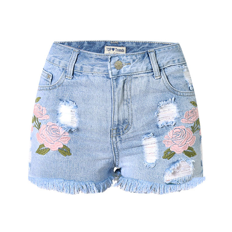 Embroidery Denim Shorts Floral High Waist Jeans Short