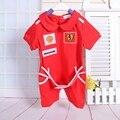 Mamelucos del bebé rojo coche de bebé niños del mono de los deportes estilo carrera trajes de niño de los mamelucos de la manga corta del bebé ropa de moda de verano 2016 caliente