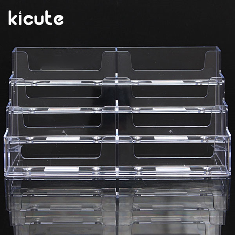 Kicute Newest Desktop Business Card Holder 8 Pockets Stand Clear Transparent Acrylic Counter Display Stand Office Home Supplies