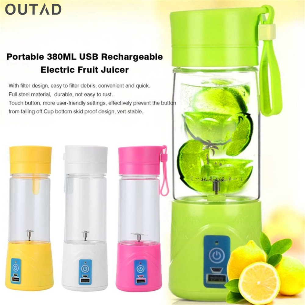 New Fashion And High Quality Portable Juicer Cup Rechargeable Battery Juice Blender 380ml USB Juicer