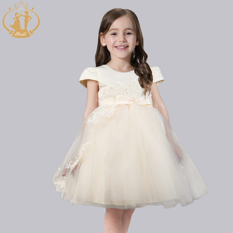 ФОТО Nimble New Spring Summer Dress Appliques Bead Bow Irregular Pattern Kids Princess Dress for Girls
