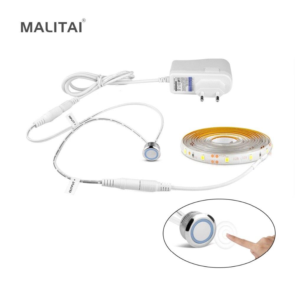 Stufenlos Dimmbar FÜHRTE Kabinett Licht Mit Touch-Dimmer LED Streifen Kleiderschrank lampe Eu-stecker Netzteil