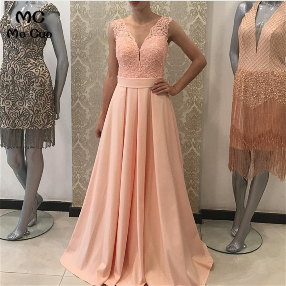 New Sheer Lace   Evening     Dresses   Long with Lace Sleeveless V-Neck Satin Formal   Evening   Party   Dress   for Women Custom Made