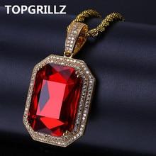 Женское Ожерелье TOPGRILLZ с кулоном из Красного камня, украшение в стиле хип хоп, сверкающее микрозакрепленное фианитом, цвет под золото, 60 см, цепочка на шнурке