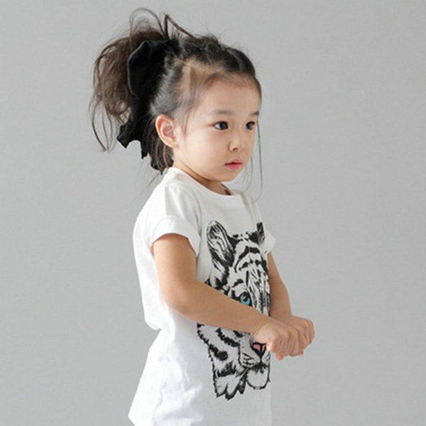 Fashion Kids Baby Girls Korean Tiger Printed Casual T-shirt Cotton Blouse Shirt Clothes
