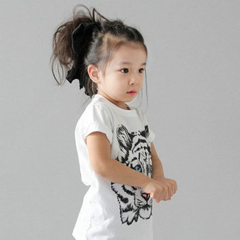 Fashion Kids Baby Girls Korean Tiger Printed Casual T-shirt Cotton Blouse Shirt Clothes conjuntos casuales para niñas