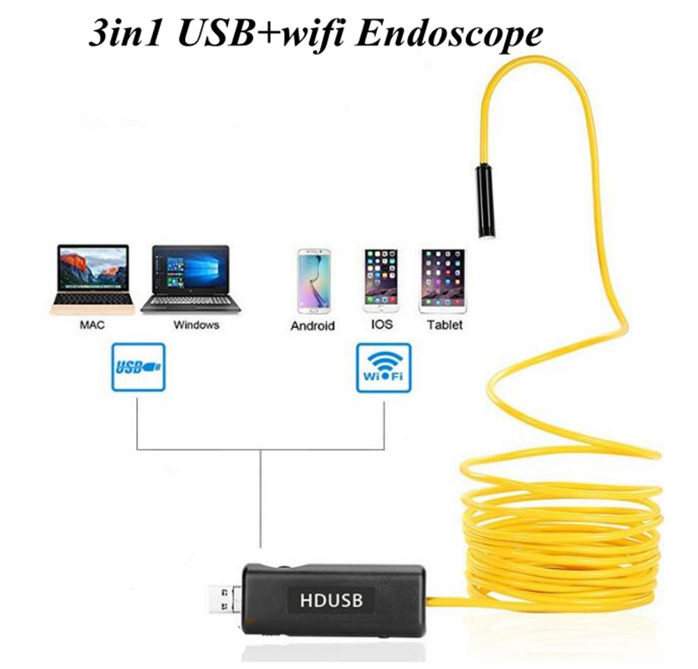 8MM 2MP Wireless WIFI Endoscope For Android And ISO Water-proof IP66