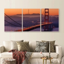 Laeacco 3 Panel Sunrise of the Golden Gate Bridge San Francisco Wall Artwork Canvas Painting Posters Prints Home Decoration