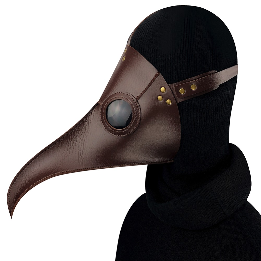 GEARDUKE Cospaly Steampunk Plague Doctor Mask coffee PU Leather Birds Beak Masks Halloween Art Cosplay Carnaval