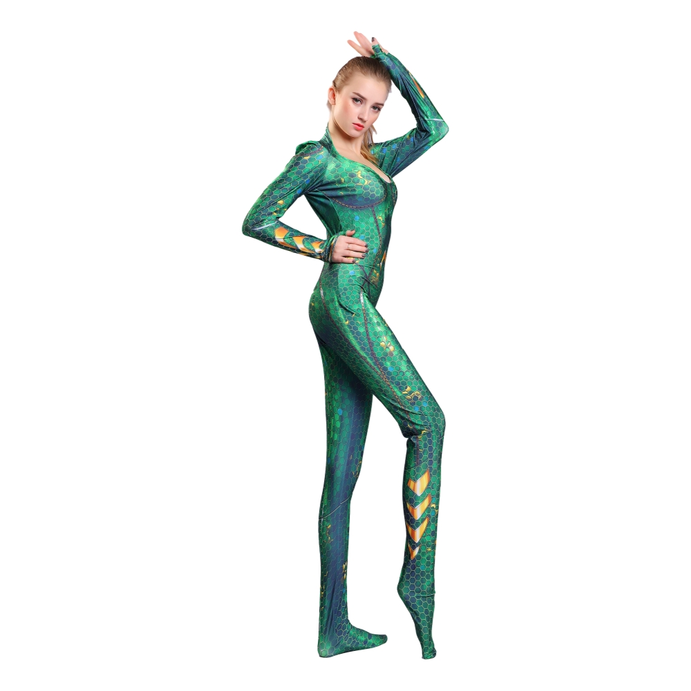 3D printing Aquaman Mera Cosplay Costume Zentai Superhero Bodysuit Suit Jumpsuits Mera Cosplay Costume onesies for adults in Movie TV costumes from Novelty Special Use