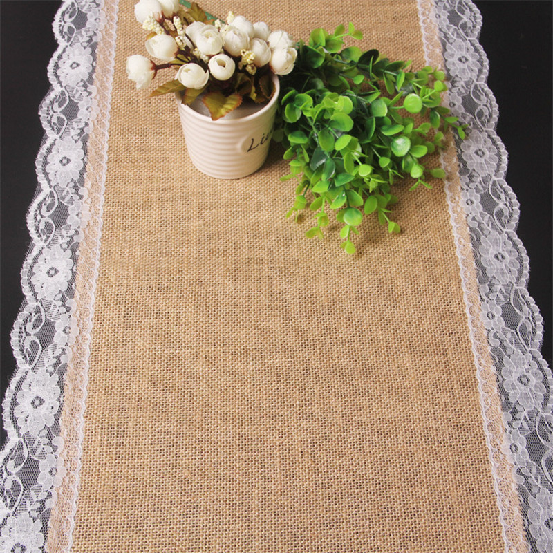 Online Shop 30X275cm Lace Hemp Table Runner Christmas Party Wedding  Decoration | Aliexpress Mobile