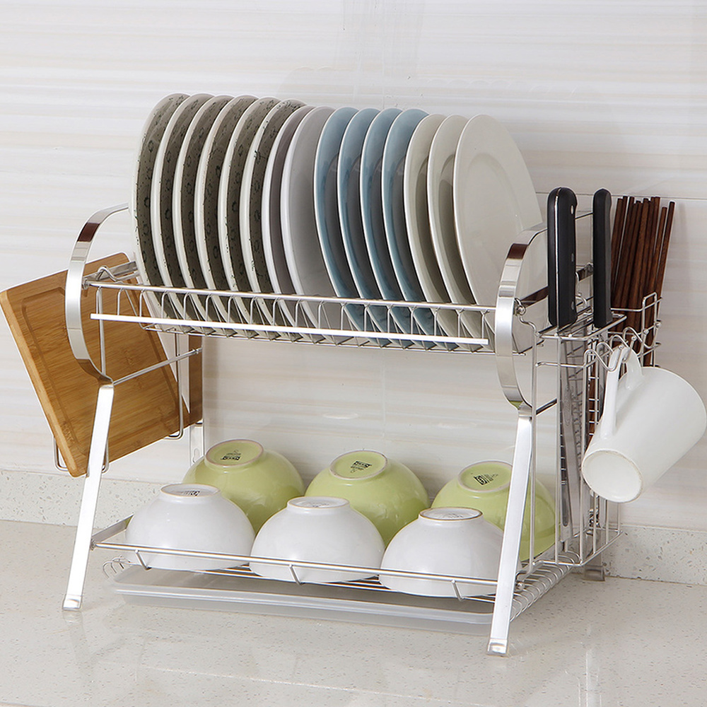 Kitchen shelf floor 2 layer stainless steel dish rack tableware storage dish rack cupboard drain rack wx10191929