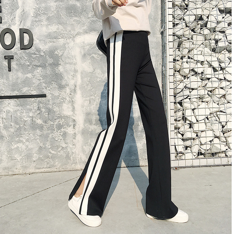 Spring high waist slim casual sportwear   pants   women side stripe slit   wide     leg     pants   floor length long trousers large plus size