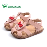 Claladoudou13.5 15.5CM Brand Genuine Leather Sandals Girls Summer Flats Closed Toe Kids Sandals Pink Beige Girl Toddler Shoes